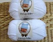 white Bamboo Yarn / Cotton Yarn / Baby Yarn / Blanket Yarn / Knitting Yarn / Crochet Yarn / Hypoallergenic / antibacterial // Craft Supplies