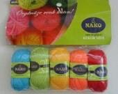 Mini embroidery yarn,5 color ,rainbow,5 mini yarn,acrylic yarn,5 Skeins, Each skein: 10 gr,36m.