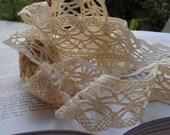 Cotton Lace Fabric Trim, soft ,Beige Cream Floral Crochet Cotton,210cm