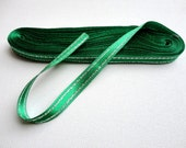 "Emerald Green Double-Faced Satin Ribbon 3/8"" with Metallic Stripes , 10 yards long"