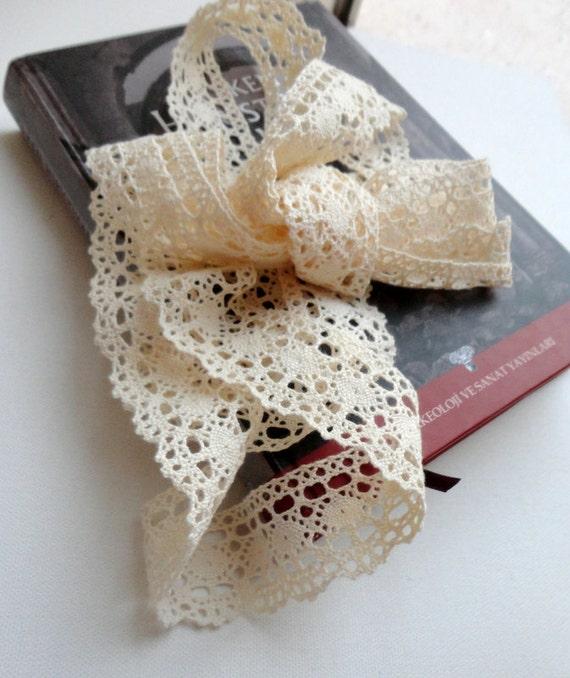 Cotton Lace Fabric Trim, soft ,Beige Cream Crochet Cotton, 209cm