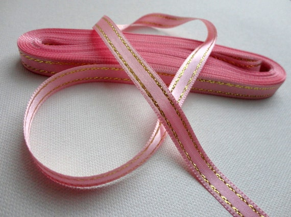 """Pink Double-Faced Satin Ribbon 3/8"""" with Metallic Gold Stripes , 10 yards long"""