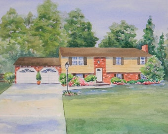 Sample of one of my Custom Watercolor House Portraits by Sally Tia Crisp  Architectural Rendering