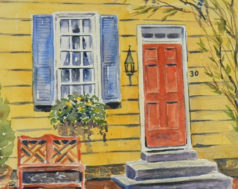 Historical Yellow Colonial Annapolis House Painting by Sally T. Crisp Creations