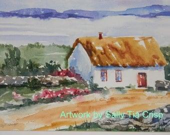 St. Patrick's Day Cozy Charming Irish Cottage Watercolor Sally Tia Crisp Original Artwork