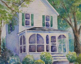 Custom House Painting watercolor art Victorian Beach House Painting Sally Tia Crisp