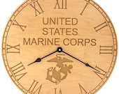 United States Marine Corps Carved Clock made out of Maple Wood