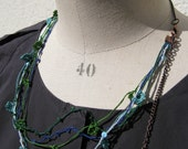 Silk necklace - 5 lines- colors blue-green