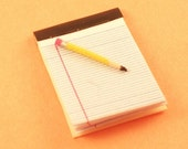 Miniature Pencil & Paper Pad for Dollhouse