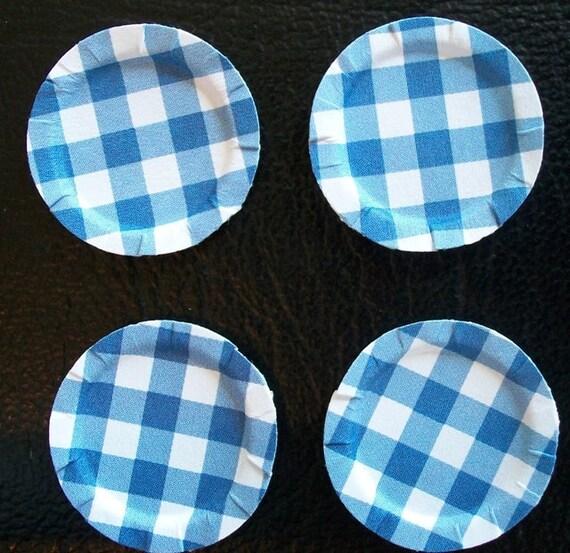 Dollhouse paper plates Blue Checker Set of 4