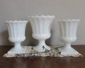 Milk Glass Planter Urn Collection, Wedding, Garden Party, Cottage Chic