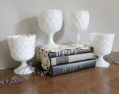 Milk Glass Pedestal Compote, Goblet Collection, Wedding, Garden Party, Cottage Chic