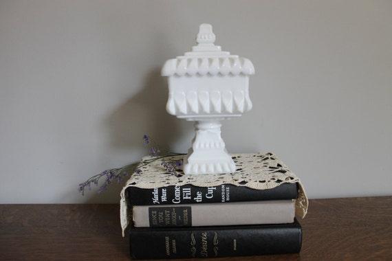 Milk Glass Wedding Box, Jar with Lid, Wedding Gift, Decor