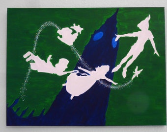 SALE - 24x18 Peter Pan Silhouette Painting- Acrylic on Canvas- Hand Painted