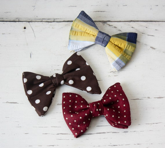Vintage Bow Ties Clip on - Set of 3