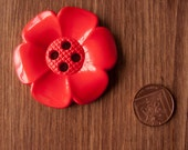 Giant Moulded Flower Button Red -  4 holes - UK manufacturer