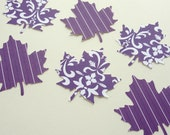 Purple and White Autumn Leaves Fall Leaf Paper Cut Outs for Scrapbooking, Fall Decorations, Embellishments, Collage Crafts, Set of 16