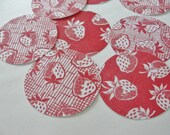 Summer Red Strawberry Paper Cut Outs, Jam Jar Toppers, Round Tags, Scrapbook Red and White, Set of 16