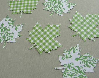 Green and White Autumn Leaves Fall Leaf Paper Cut Outs for Scrapbooking, Fall Decorations, Embellishments, Collage Crafts, Set of 16
