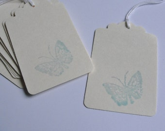 Creamy Buff and Blue Butterfly Gift Tags, Hand Stamped Paper Cut Outs, Summer Birthday Gift Tags, Set of 12