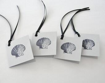 Summer Seashell Birthday Gift Tags, Beach Scallop Shell Gray ad Black Gift Card Tags, Set of 10