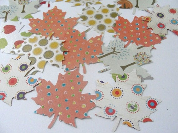 Autumn Fall Leaf Leaves Paper Cut Outs Cutouts Tags Decorations Scrapbooking Embellishments Set of 50