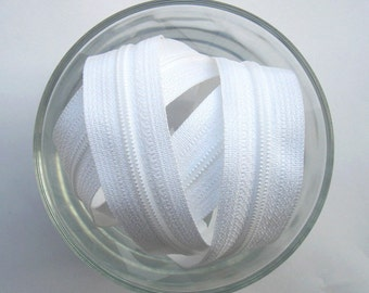 Zippers - White  - YKK Brand - 10 Pieces - 8 inch