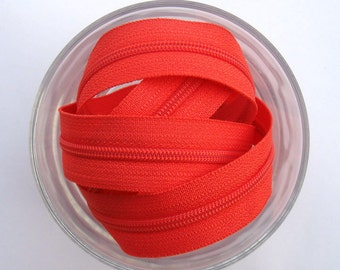 Zippers - Tomato - YKK Zippers - 10 Pieces - 7 inch