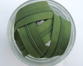 Zippers - Olive Green - YKK Zippers - 10 Pieces - 7 inch