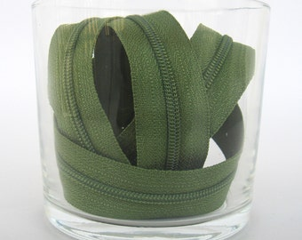 Zippers - Olive Green - YKK Zippers - 10 Pieces - 8 inch
