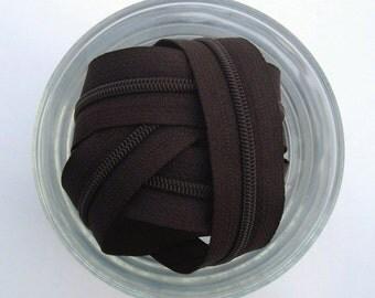Zippers - Dark Brown - YKK Zippers - 25 Pieces - 7 inch
