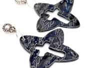 Porcelain Black Cross Earrings