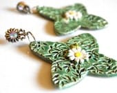 Porcelain Cross and Daisy Earrings in Mossy Green