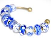 Blue Artisan Bead Bracelet Pandora Style