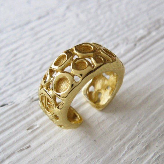 Gold Plated Band Ring, Contemporary Engagement Ring, Wedding Band Ring