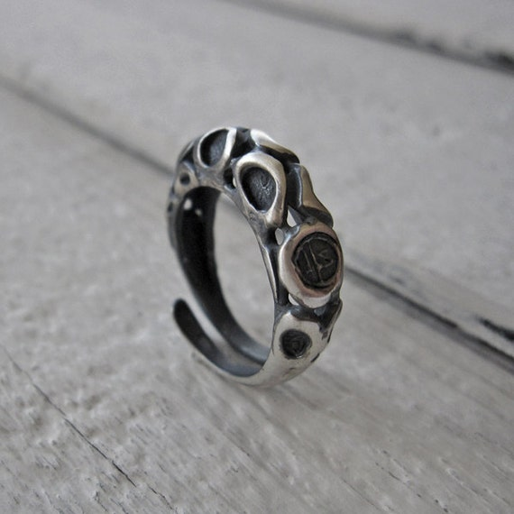 Ring, Adjustable Handmade Ring in 925 Black Sterling Silver, Oxidized Antiqued Sterling, Custom Fine Jewelry, Contemporary Engagement Ring