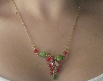 Asymmetrical Floral Cluster Necklace