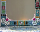 """Beautiful Stained Glass Mosaic Wall Mirror size 47""""/21"""""""