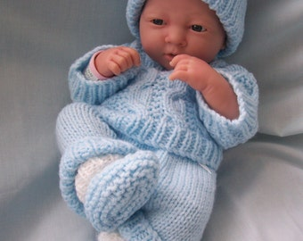 "Hand Knitted Dolls Clothes for 15"" La Newborn Berenguer doll, or similar made to order set."