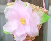 SALE... 20% off entire store Little Girl's Purse Wicker weaved Flower Purse Small