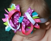 Stacked Grosgrain Ribbon Boutique Bow Purple Blue Pink Green