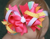 Stacked Grosgrain Ribbon Boutique Bow Pink Orange Purple Green