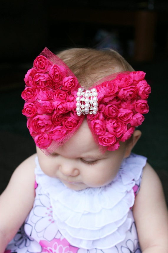 Fancy Rose Baby Hair Bow Bow tie Pearl Crystal center