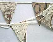 SALE Vintage Key, Vintage Map, and Script Pennant Garland Brown, Black, Ivory- 6 ft. , decoration, party decoration