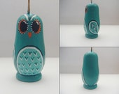 Hand Painted Russian Doll Miniature, Little Owl Blue-Green