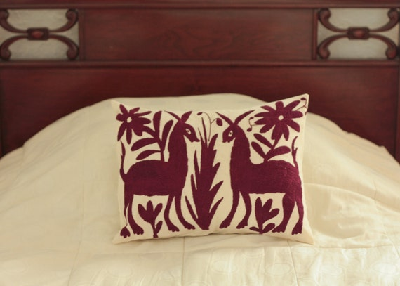 burgundy otomi embroidered pillow cover