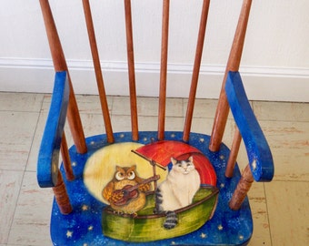 CHILD'S ROCKING CHAIR - The Owl and Pussycat