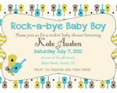 Rock-a-bye Baby Boy Shower Invitation - Digital