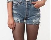 SALE 50% OFF LEVI'S Handmade High-wasited Denim shorts Urban Style