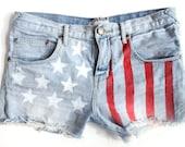 SALE High Waisted Denim American Flag Themed Shorts Urban